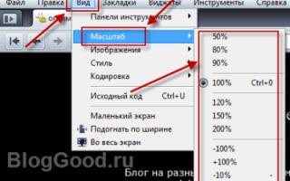 Как уменьшить размер страницы в интернете
